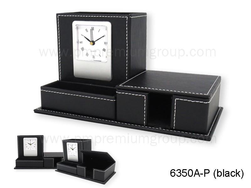 นาฬิกากล่องหนังตั้งโต๊ะ 6350A-R