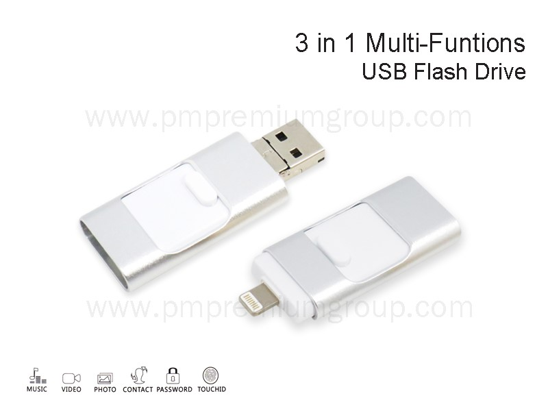 USB 3 IN 1 Multi-Functions Silver