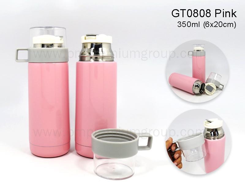 กระติกน้ำสเตนเลสสีชมพูGT0808